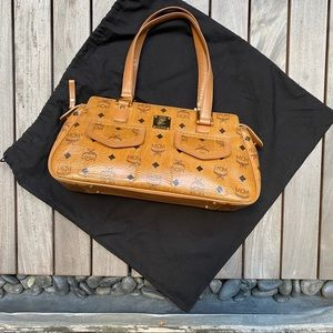 MCM Cognac Boston Satchel Tote Visetose Speedy Bag